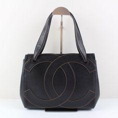 Authentic Chanel Large CC LOGO Shoulder Bag Black cavier  leather France 19196