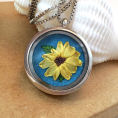 Beautiful Necklace Daisy Necklace Embroidered by SewnbytheBeach