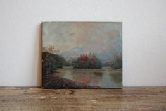 Old Oil Painting on Canvas Lake Landscape by aneedleinthehay, $70.00