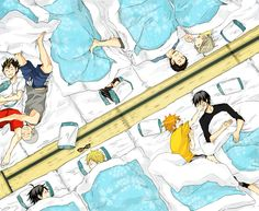 Haikyuu!! ~~ Sleepy little crows all in two rows.