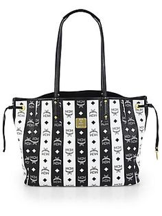 MCM Reversible+Striped+Medium+Shopper+Tote