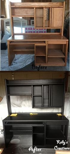 Solid oak desk turned modern with a little black satin paint.  Refinished by Kelly's Creations.  https://www.facebook.com/pages/Kellys-Creations-Refinished-Furniture/524028237619793