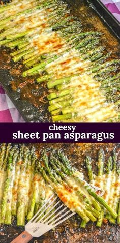 Garlic Roasted Cheesy Sheet Pan Asparagus - An easy side dish, this roasted gar. , , Garlic Roasted Cheesy Sheet Pan Asparagus - An easy side dish, this roasted garlic asparagus is cooked on a single sheet pan with a cheesy topp - Pan Asparagus, Roasted Garlic Asparagus, Roasted Vegetables, Veggies, Easy Asparagus Recipes, Asparagus With Cheese, Ways To Cook Asparagus, Dinner Vegetables, Best Asparagus Recipe