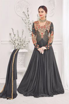 5bb10b770f1 Black gown with resham embroidered yoke Black lycra santoon chiffon  embroidered Resham floral embroidery with golden gotta border on Comes with  matching ...