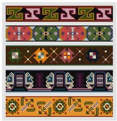 5 Repeating Border or Edging Cross stitch patterns by Whoopicat, $6.00
