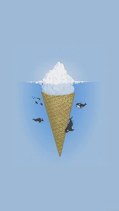 freeios8.com - ah79-whale-illust-sea-icecream-iceberg - http://goo.gl/MR17nC - iPhone, iPad, iOS8, Parallax wallpapers