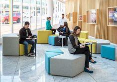 The Elements range allows you to reconfi Workspace Design, Office Interior Design, Office Interiors, Modular Furniture, Furniture Design, Atrium, Sala Vip, Flexible Furniture, Restaurant Lighting