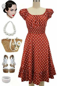 50s Style Rust White Polka Dot Plus Size Peasant on Off The Shoulder Dress | eBay