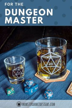 Polyhedral dice old fashioned whiskey glasses are the perfect gift set for the dungeon master or the whole game group.#virtualhappyhour #virtualgames #dnd #dice #diceglasses #gamenight #whiskey #diceset #dndgift #gamegroup #dungeonmaster #etchedglasses #glassgiftset #whiskeyglasses #sc Whiskey Gifts, Whiskey Glasses, Bar Geek, Cocktails On The Rocks, Engraved Glassware, Cocktail Glassware, Personalised Glasses, Wedding Toasting Glasses, Bar Cart Styling