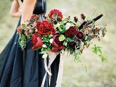 Deep red bridal bouquet