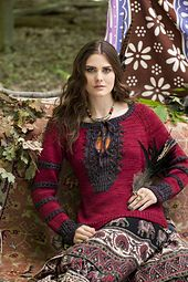 Standard-fitting pullover with inset front lace and rib detail. Sized for Small, Medium, Large, X-Large, XX-Large and shown in size Medium on page 78.