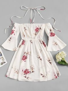 Shop Fluted Sleeve Floral Print Halter Dress at ROMWE, discover more fashion styles online. Cute Comfy Outfits, Cute Girl Outfits, Girly Outfits, Mode Outfits, Pretty Outfits, Pretty Dresses, Stylish Outfits, Beautiful Dresses, Skater Outfits