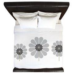 Grey Lovers Floral King Duvet on CafePress.com