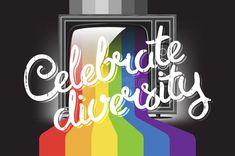 Celebre el concepto de la diversidad ilustración del vector Retro, Lgbt, Calm, Neon Signs, Entertaining, Shapes, Artwork, Projects, Gender