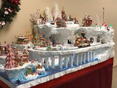 North Pole Village 2017 by Christi & Randall. We have ice islands, tunnels, an elf village and a north pole! Christmas Town, Christmas Villages, Noel Christmas, Christmas Crafts, Xmas, Disney Christmas, Indoor Christmas Decorations, Outdoor Christmas, Diy Christmas Village Platform