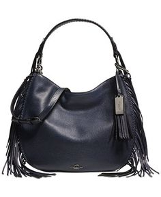 COACH Nomad Fringe Hobo in Pebble Leather - Handbags & Accessories - Macy's