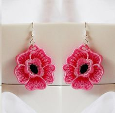 Earrings lace rose folded - FSL - dentelle - Machine embroidery design./INSTANT DOWNLOAD