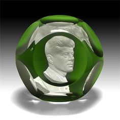 Baccarat 1964 John F Kennedy Sulphide Paperweight