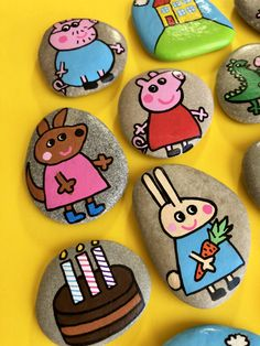"""Surprise your toddler with this Magic Story Stones set """"Peppa Pig & Friends"""". Customized Montessori toy that will be a keepsake Birthday/Christmas/Christening gift. Arts And Crafts For Kids Toddlers, Art For Kids, Toddler Gifts, Toddler Toys, Painted Rocks, Hand Painted, Stone Painting, Rock Painting, Story Stones"""