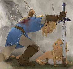 By ノメリ on Twitter. Nooo, Link! I thought his sacrifice for Zelda so great in Breath of the Wild. Oh my God!!