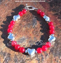 Red Jade Heart Bracelet - Heart Bracelet, Red Bracelet, Mother's Day Gift, Mother's Day, Mother's Day Jewelry, Gift for Mom, Ideas for Mom https://www.facebook.com/maiko.sucich/posts/622889867849346
