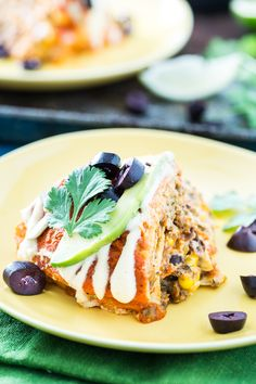 Vegan Stacked Enchilada Pie | could use regular cheese, add in chipotle field roast #easy #quick #protein