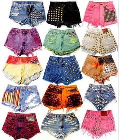 DIY jean shorts repurposed from old jeans.studded shorts, so many great examples and ideas