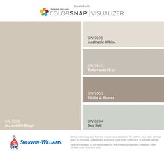 I found these colors with ColorSnap® Visualizer for iPhone by Sherwin-Williams: Accessible Beige (SW Aesthetic White (SW Colonnade Gray (SW Sticks & Stones (SW Sea Salt (SW Taupe Paint Colors, Beige Color Palette, Bathroom Paint Colors, Interior Paint Colors, Paint Colors For Home, House Colors, Bathroom Gray, Beige Paint, Armoires Beiges