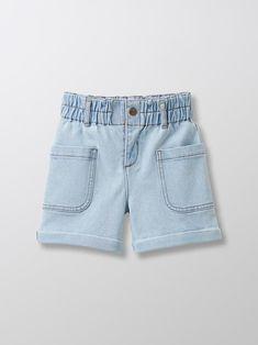 Girl's jeans shorts - Bleached denim - 2 Girls Denim Shorts, Girls Jeans, Jumper Shirt, T Shirt, Pyjamas, Bodies, Short Fille, Bleached Denim, Short En Jean