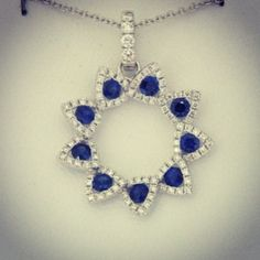 Sapphire, diamond, and white gold pendant. Covet!  www.williamcrow.com