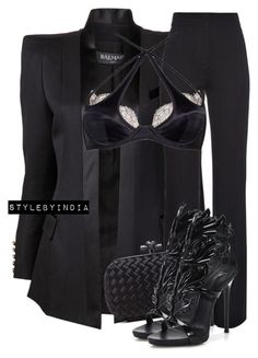 Untitled #1668 by stylebyindia on Polyvore featuring polyvore, fashion, style, Balmain, Derek Lam, Agent Provocateur, Giuseppe Zanotti, Bottega Veneta and clothing