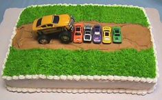or maybe this monster truck cake.  also forgiving.  needs a name and happy birthday.