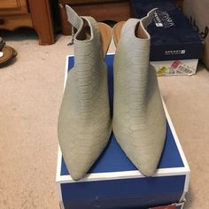 Steve Madden grey pointy toe heels Worn once. These are so gorgeous and go with almost everything! Steve Madden Shoes Ankle Boots & Booties