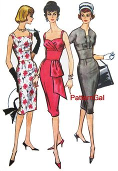 Vintage 1950s WIGGLE DRESS Sewing Pattern 3 STYLES by PatternGal