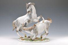 Large figurine, Rosenthal, designed by Meisel,1960s, group of grey horses, colorful naturalistic painted, signed, H. approx. 40cm . German Description: Große Porzellanfigur, Rosenthal, Entwurf Meisel, 1960er Jahre, Schimmelgruppe, bunt naturalistisch bemalt, signiert, H. ca. 40cm