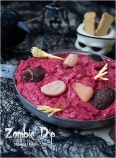 Top 10 Spooky Halloween Dips And Appetizers | with Pin-It-Button on http://www.ohsweetbasil.com/2013/10/zombie-dip-recipe.html