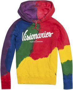 "Hooded sweatshirt, parrot colours, """"Visionaries"""" print"