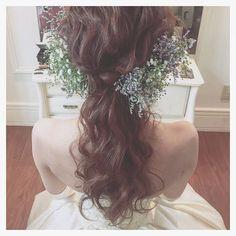 「* * happy wedding * * * #ヘアアレンジ #ウェディング #コーデ #マリhair」 Hairdo Wedding, Wedding Hair Flowers, Wedding Hair And Makeup, Bridal Makeup, Flowers In Hair, Hair Makeup, Dress Hairstyles, Wedding Hairstyles, Hair Arrange