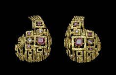 Anton Frühauf (Meran, 1914-1999): Paisley-shaped, gem-set earrings | Museum of Fine Arts, Boston