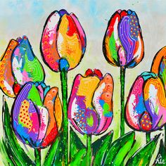 Spring Tulips by ? Diy Painting, Painting & Drawing, Wal Art, Atelier D Art, Happy Paintings, Flower Pictures, Whimsical Art, Art Plastique, Art Techniques