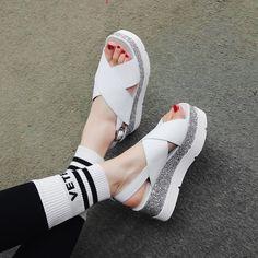 Chiko Nefertum Glitter Flatform Sandals feature open toe, strap upper, glitter flatform rubber sole.