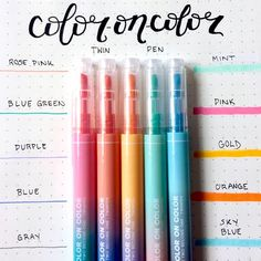 """here's a swatch for the color on color twin pens! one side is a highlighter and the other is a fineliner."" by Material escolar Cores Stationary Supplies, Stationary School, Art Supplies, School Suplies, Cool School Supplies, Best Pens, Calligraphy Pens, Cute Stationery, Too Cool For School"