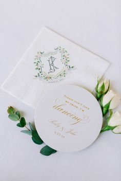 Wedding cocktail napkin with custom watercolor crest and coasters by The Inviting Pear | Photo credit: Angela Lally Photography Wedding Cocktail Napkins, Photo Credit, Pear, Coasters, Watercolor, Tableware, Photography, Pen And Wash, Watercolor Painting