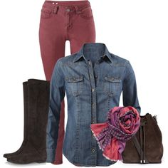 CAbi Fall 2014....Bordeaux Skinny Jean, McQueen denim shirt, and Bisou scarf. LOVE!!! www.michellewilliams.cabionline.com