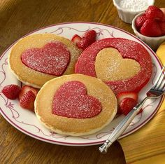 Cut Out Heart Pancakes [Valentine's Breakfast],breakfast,food Valentines Breakfast, Valentines Day Treats, Holiday Treats, Holiday Recipes, Kids Valentines, Valentine Craft, Valentine Hearts, Fun Recipes, Valentine Ideas