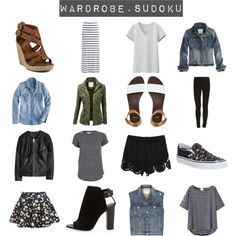 Wardrobe Sudoku by emmy on Polyvore featuring Étoile Isabel Marant, J.Crew, Uniqlo, rag & bone/JEAN, H&M, LA: Hearts, ONLY, VILA, Vince and Dolce Vita