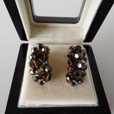 Vintage 1960's Aurora Borealis Glass Beaded Brown/Blue Half Moon Clip On Earrings by VintageBlackCatz on Etsy