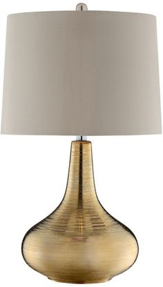 Bring glamour to your living room or parlor with this stylish table lamp, featuring a gold-finished ceramic base and fabric lampshade.