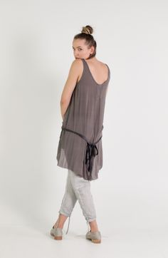 Umit Unal   Et Vous   Grey Silk Tunic With Front Ties