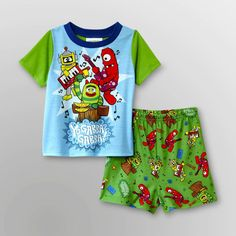 YO Gabba Gabba Pajamas Set NeW 2 piece Boy's 4T Pjs Shirt Shorts Nickelodeon NwT #Nickelodeon #TwoPiece